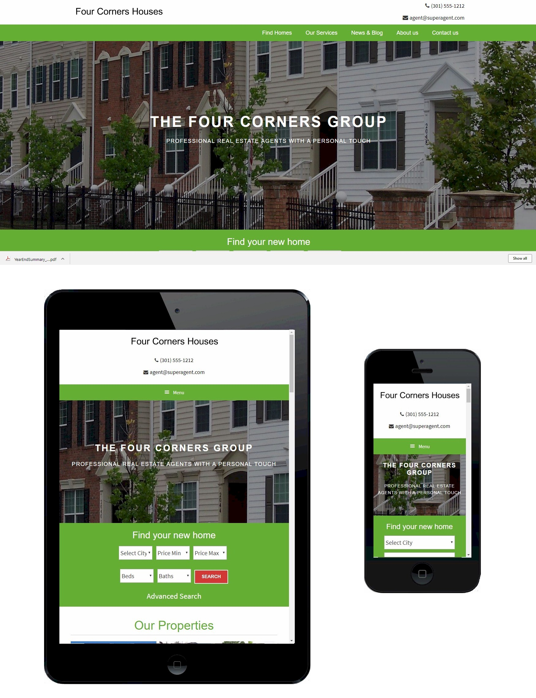 Examples of Four Corners Group theme desktop, tablet and mobile.